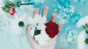 Preview wallpaper hand, tattoo, flowers, water