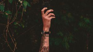 Preview wallpaper hand, tattoo, phone, watch
