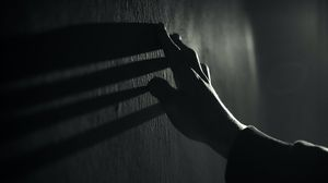 Preview wallpaper hand, wall, touch, bw, shadow, dark