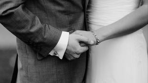 Preview wallpaper hands, couple, bw, love, newlyweds
