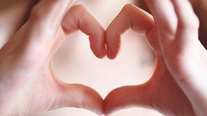 Preview wallpaper hands, fingers, gesture, heart, love
