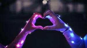 Preview wallpaper hands, garland, heart, touch, love