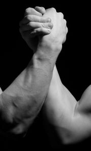 Preview wallpaper hands, men, wrestling, biceps, black and white, arm wrestling