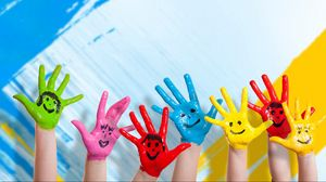 Preview wallpaper hands, paint, children, happiness, positive, smile