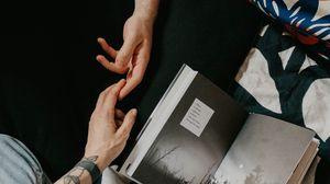Preview wallpaper hands, tattoo, book