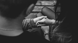 Preview wallpaper hands, touch, love, tenderness, bw