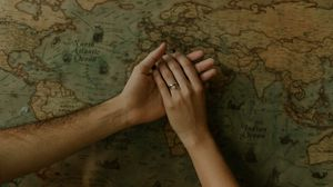 Preview wallpaper hands, touch, tenderness, map, romance