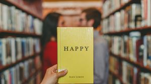 Preview wallpaper happiness, book, couple, love, blur