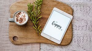 Preview wallpaper happiness, inscription, tablet