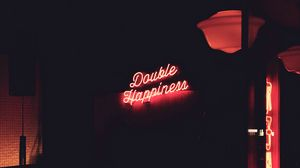 Preview wallpaper happiness, neon, light, signboard, phrase, words, happy