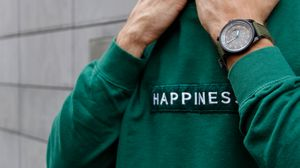 Preview wallpaper happiness, patch, inscription, clothes, hands, watch