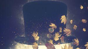 Preview wallpaper hat, autumn, foliage, art, surrealism