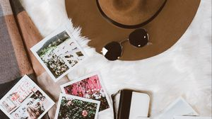 Preview wallpaper hat, glasses, photos, wallet, style
