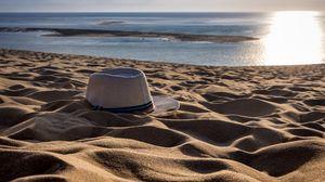 Preview wallpaper hat, sand, beach, summer
