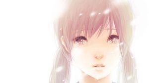 Preview wallpaper hatsune miku, girl, hair, two tails, brown eyes, tears, lips, portrait