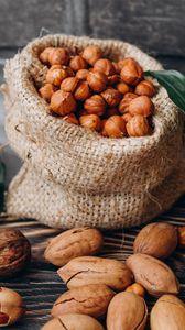 Preview wallpaper hazelnuts, nuts, shells, bag