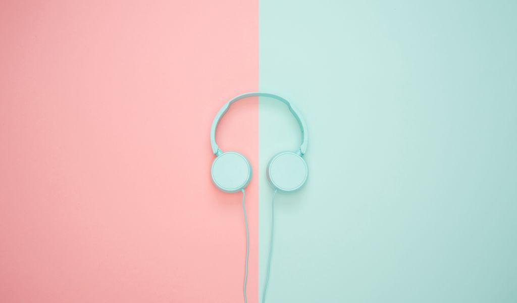 1024x600 Wallpaper headphones, minimalism, pastel, pink