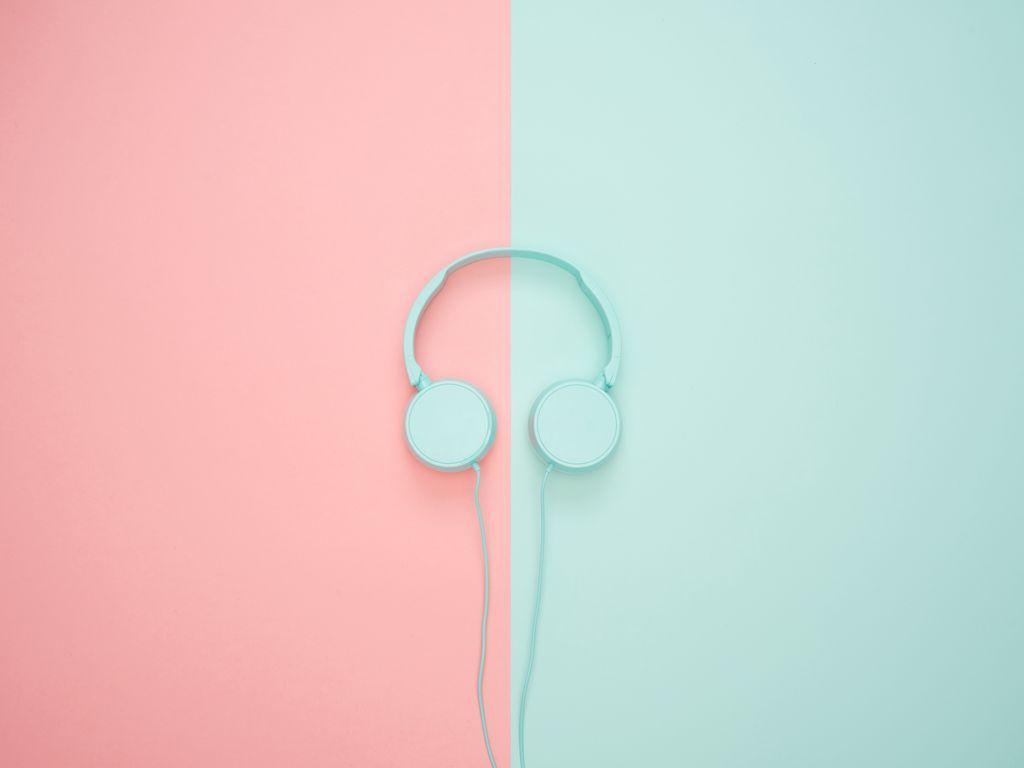 1024x768 Wallpaper headphones, minimalism, pastel, pink
