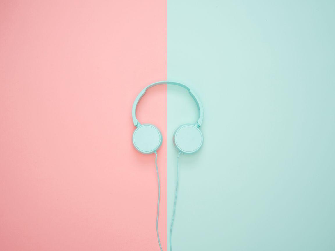 1152x864 Wallpaper headphones, minimalism, pastel, pink