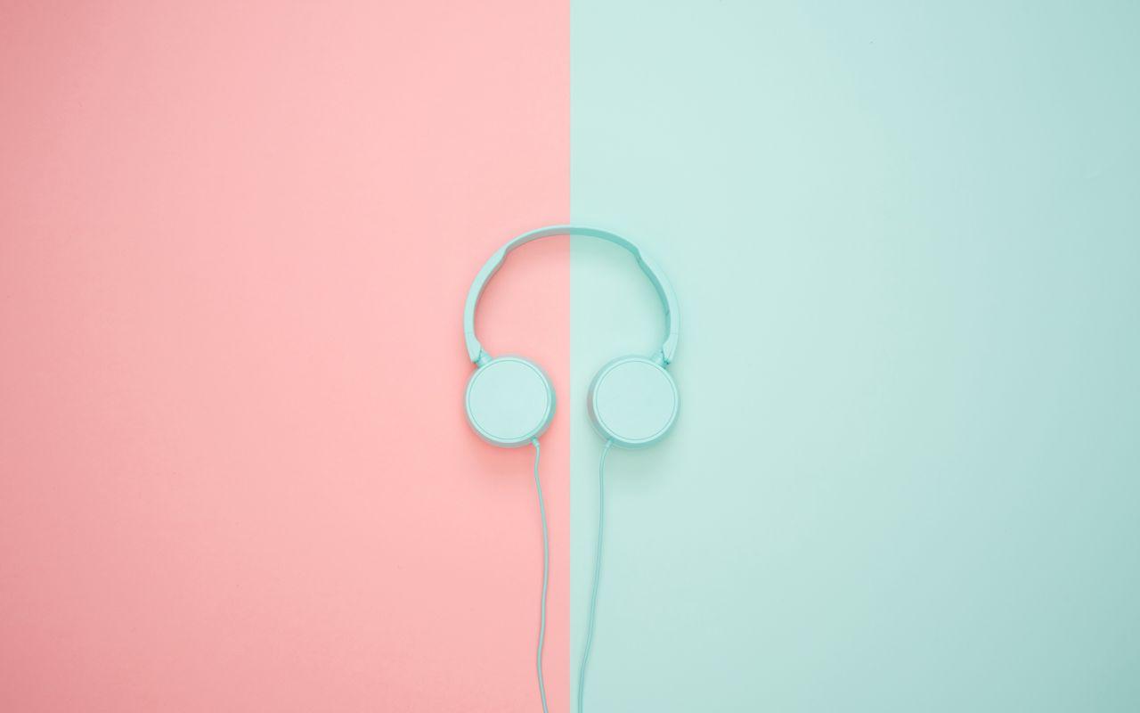1280x800 Wallpaper headphones, minimalism, pastel, pink