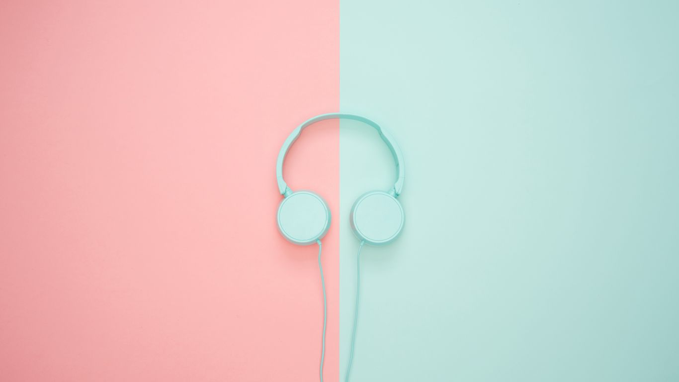 1366x768 Wallpaper headphones, minimalism, pastel, pink
