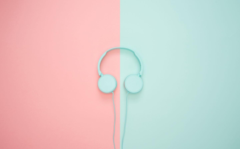 1440x900 Wallpaper headphones, minimalism, pastel, pink