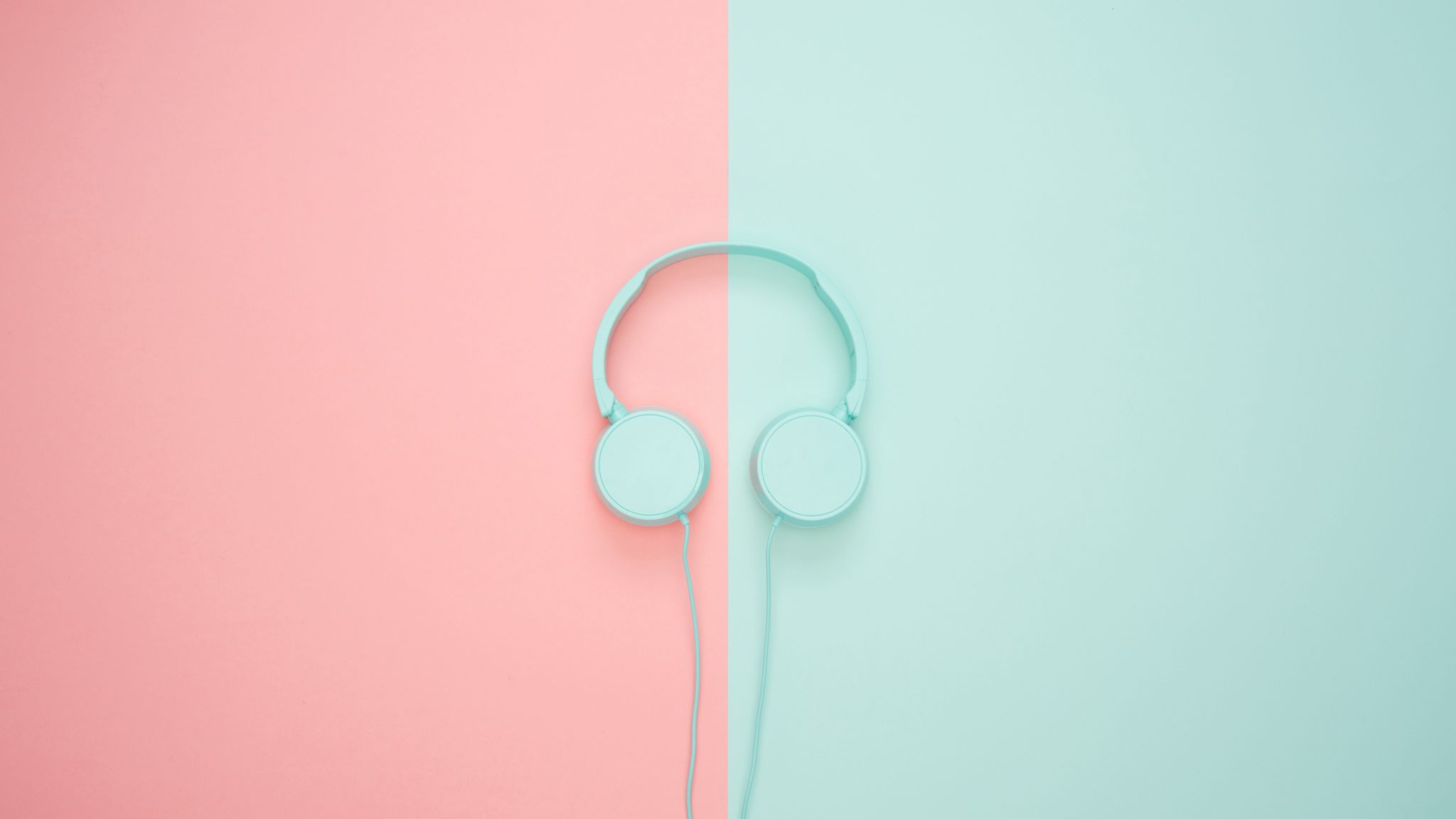 2048x1152 Wallpaper headphones, minimalism, pastel, pink
