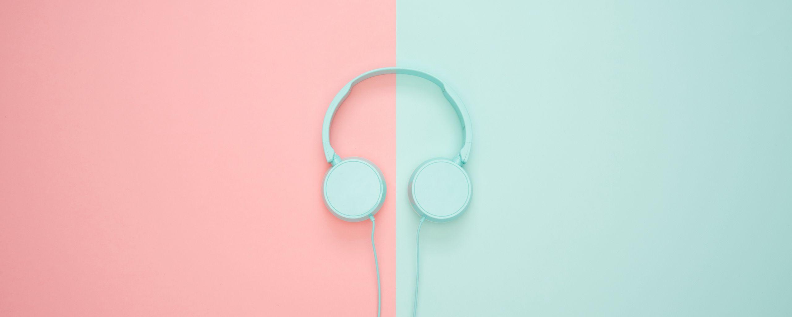 2560x1024 Wallpaper headphones, minimalism, pastel, pink