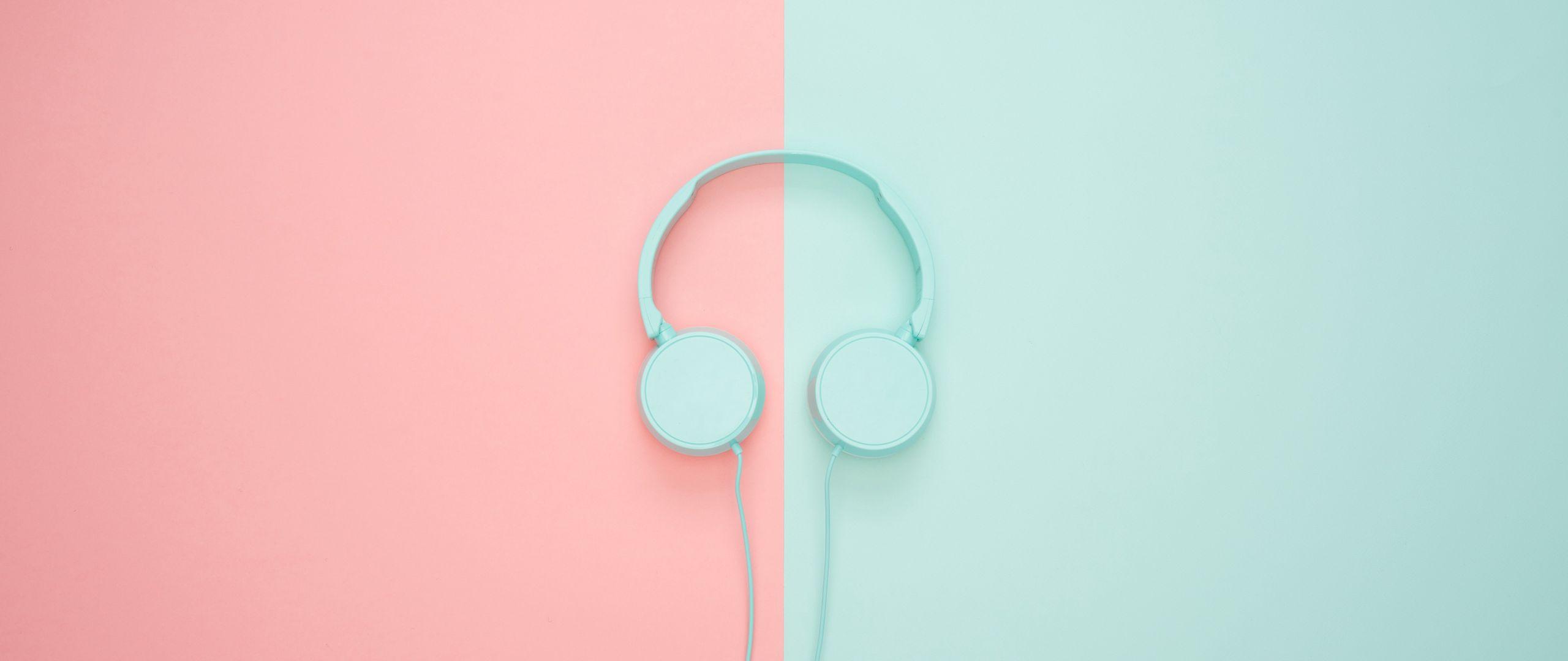 2560x1080 Wallpaper headphones, minimalism, pastel, pink