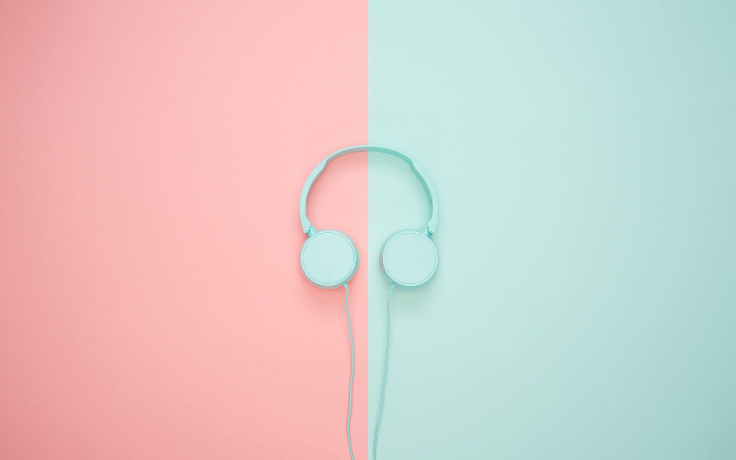 2560x1600 Wallpaper headphones, minimalism, pastel, pink