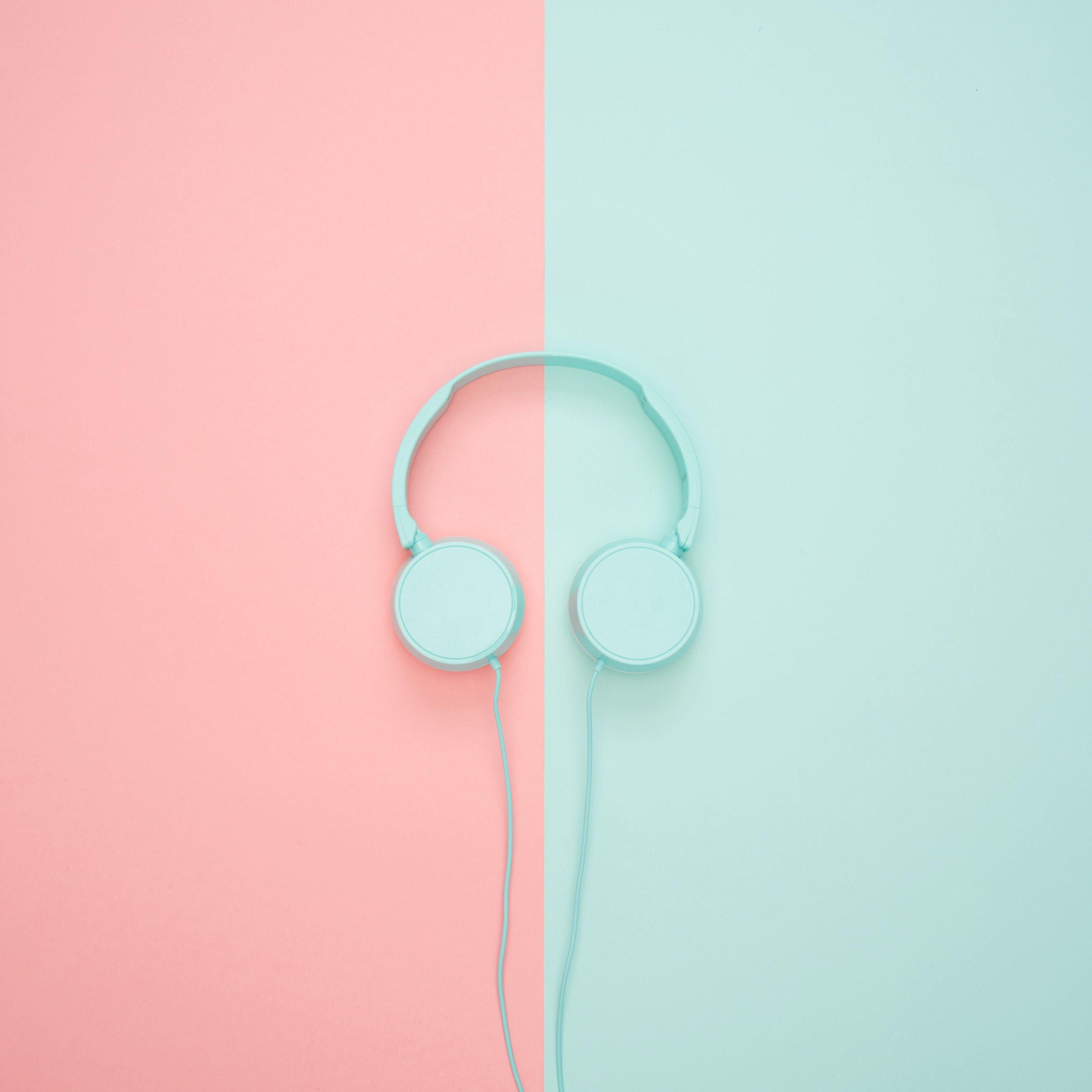 2780x2780 Wallpaper headphones, minimalism, pastel, pink