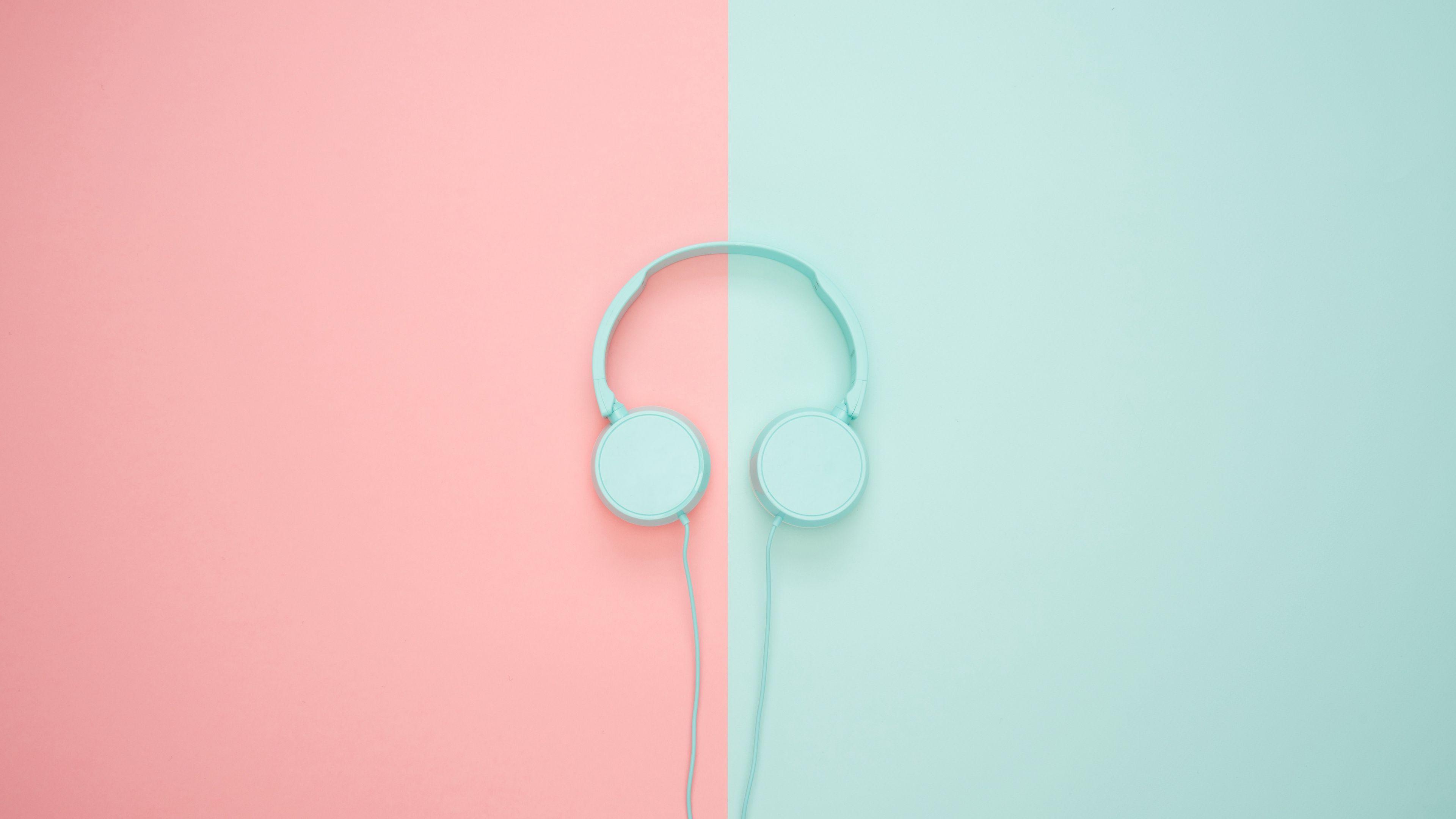 3840x2160 Wallpaper headphones, minimalism, pastel, pink