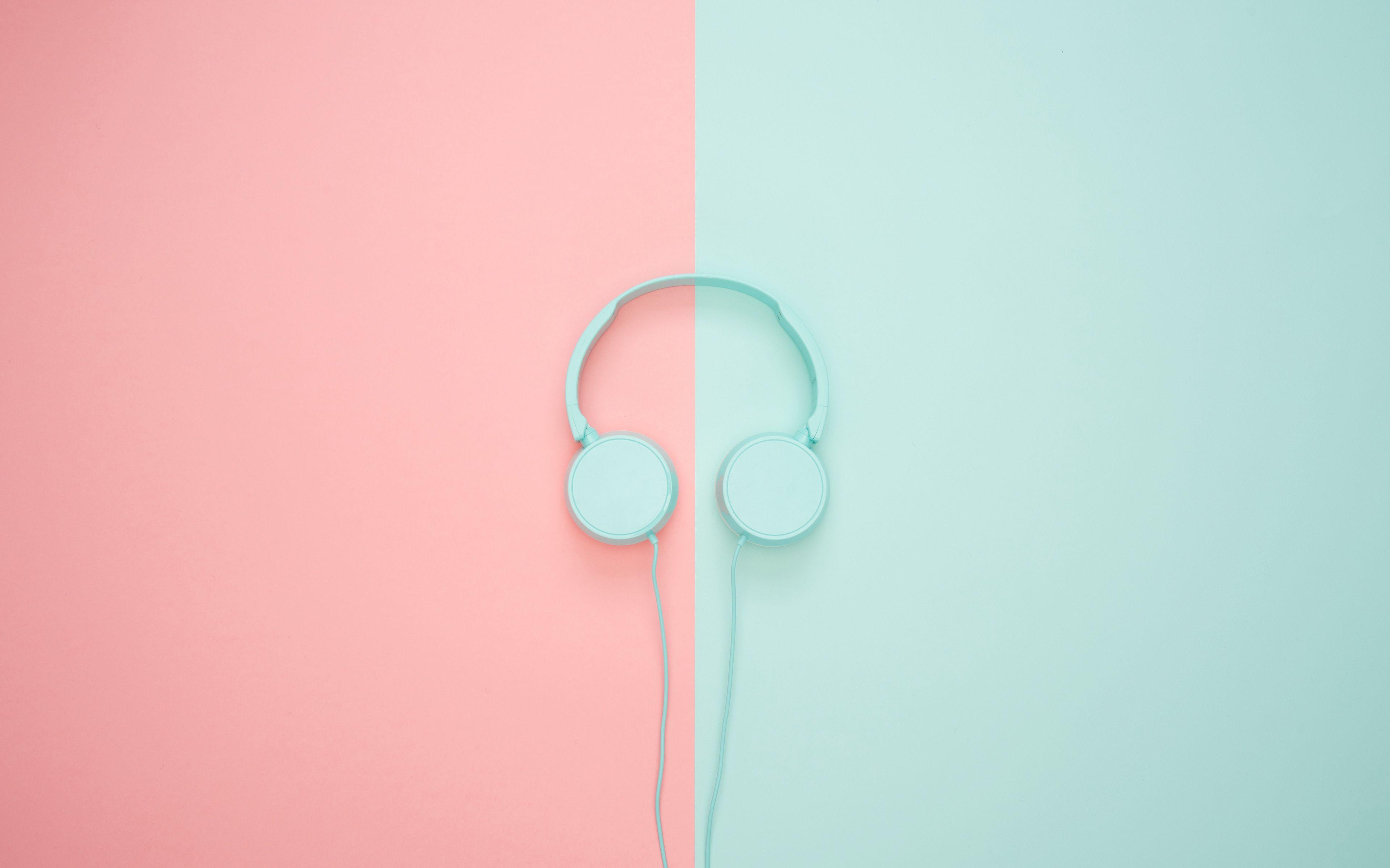 3840x2400 Wallpaper headphones, minimalism, pastel, pink