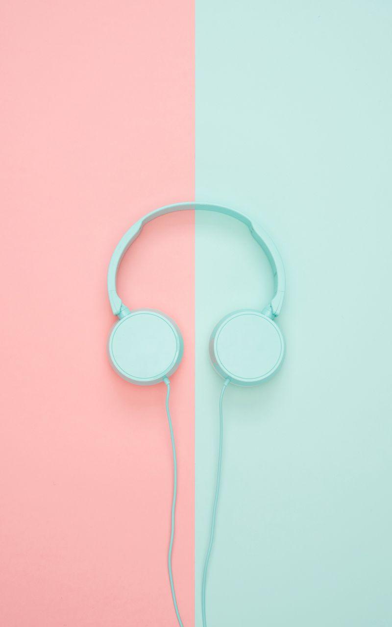 800x1280 Wallpaper headphones, minimalism, pastel, pink
