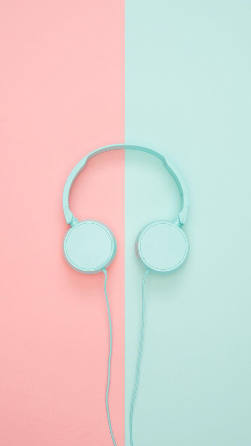 800x1420 Wallpaper headphones, minimalism, pastel, pink