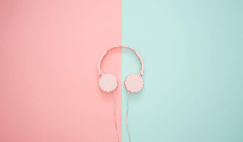 1024x600 Wallpaper headphones, minimalism, pink, pastel