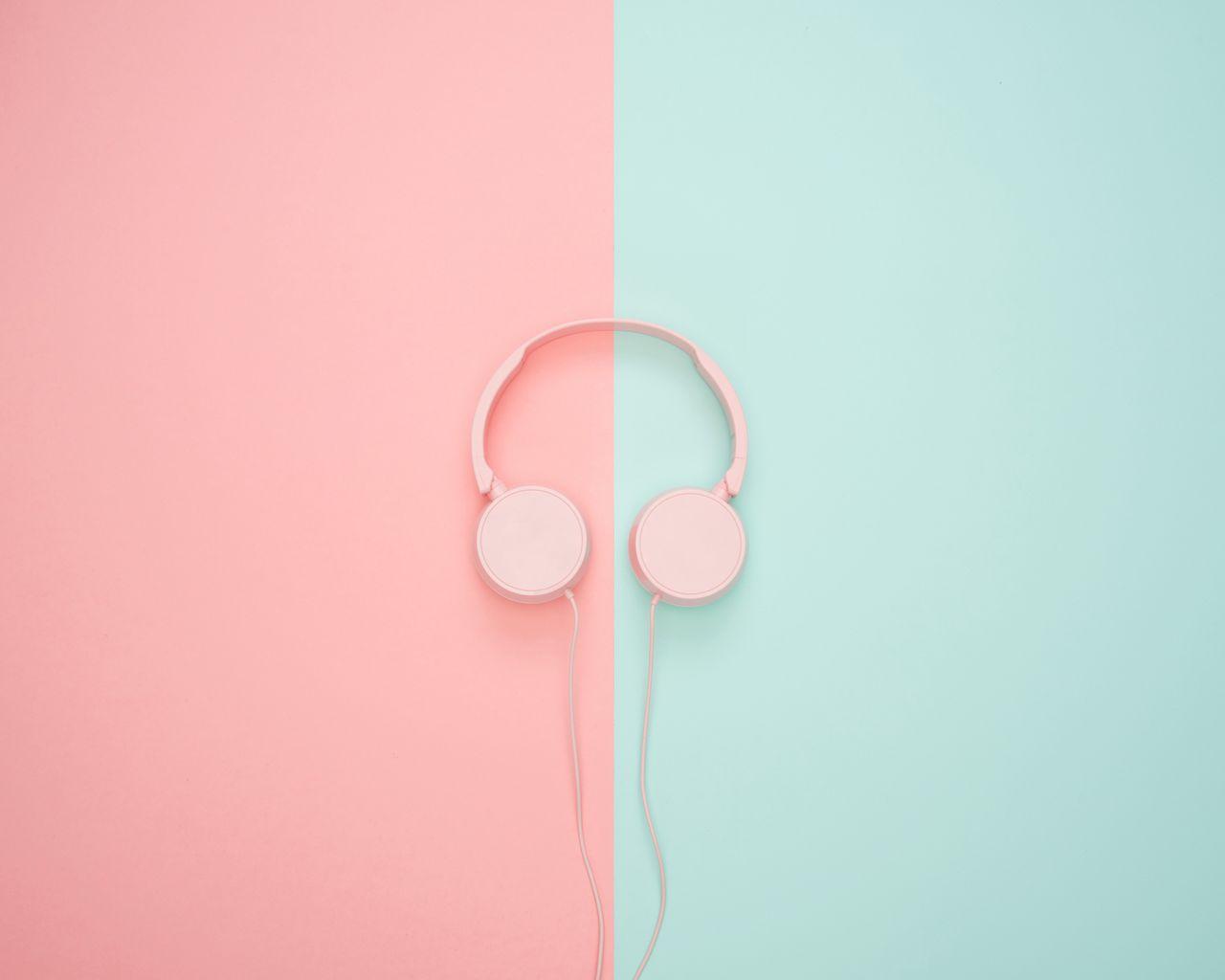 1280x1024 Wallpaper headphones, minimalism, pink, pastel