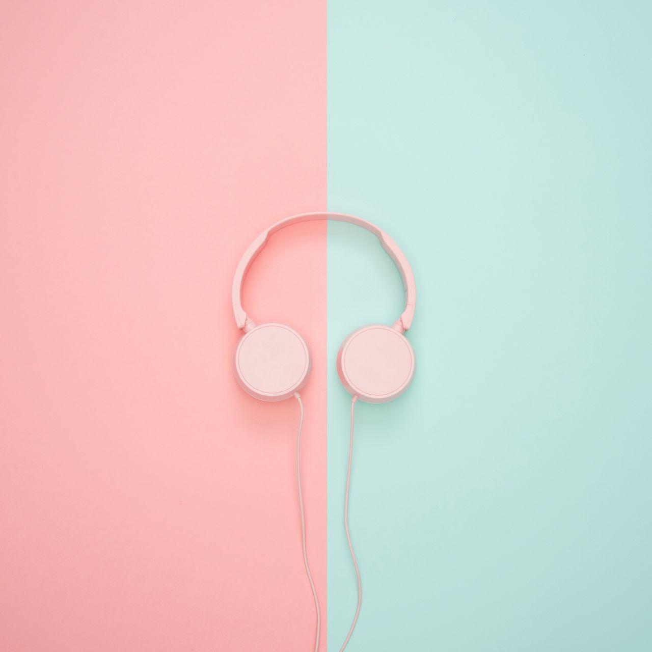 1280x1280 Wallpaper headphones, minimalism, pink, pastel
