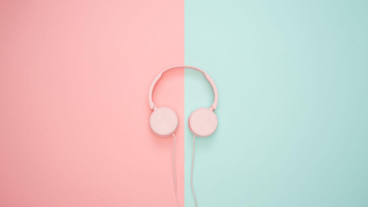 1280x720 Wallpaper headphones, minimalism, pink, pastel