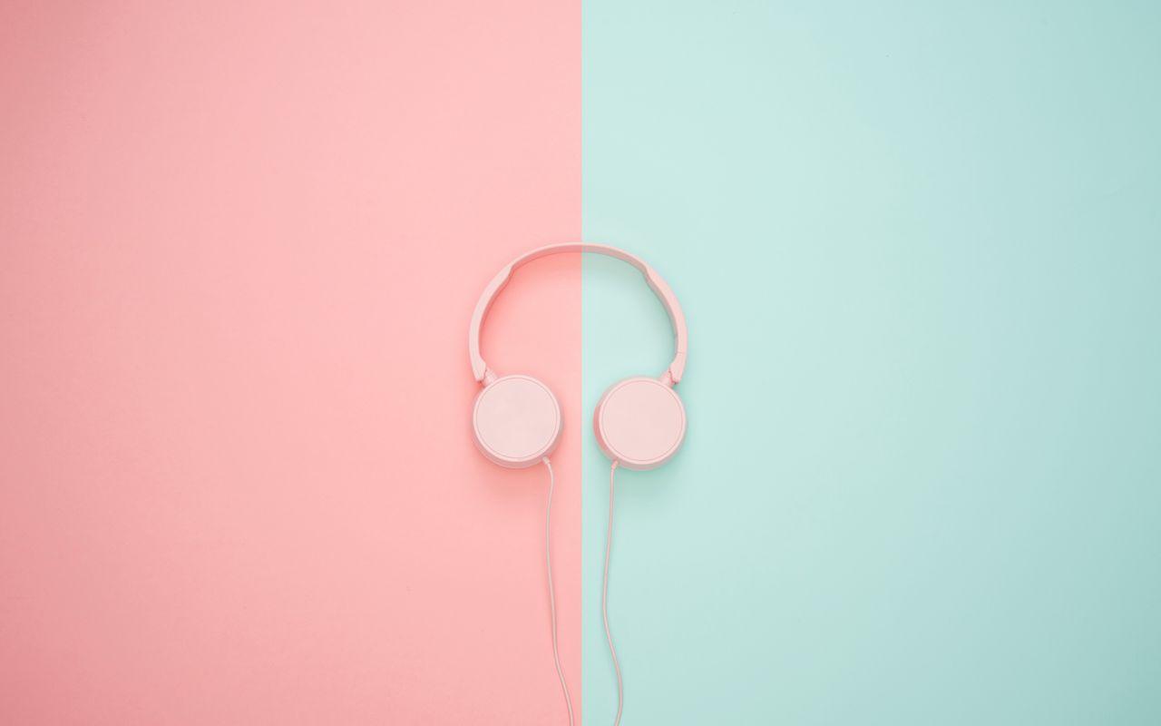 1280x800 Wallpaper headphones, minimalism, pink, pastel
