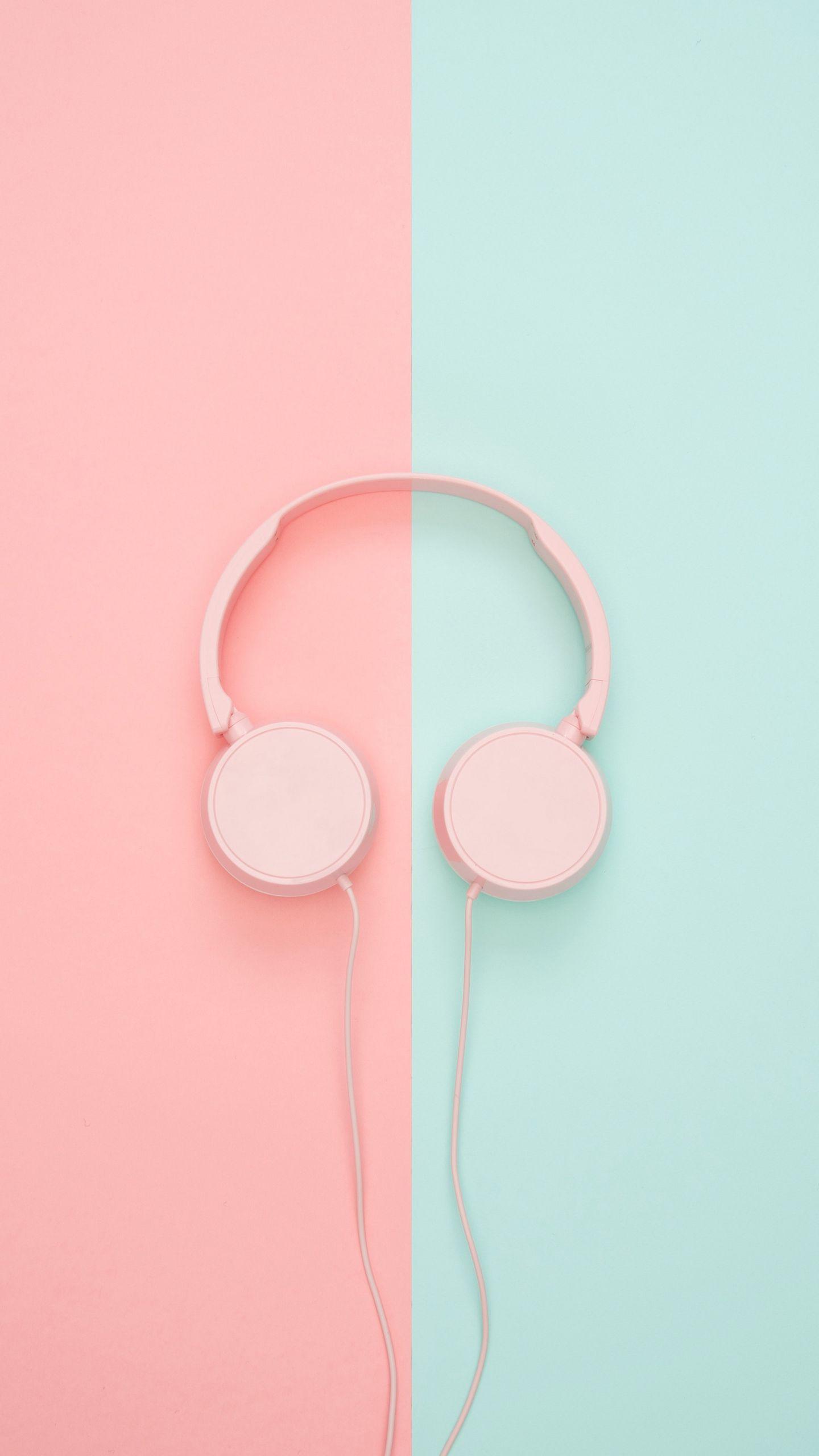 1440x2560 Wallpaper headphones, minimalism, pink, pastel