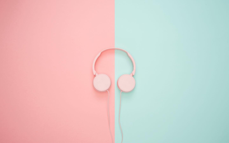1440x900 Wallpaper headphones, minimalism, pink, pastel