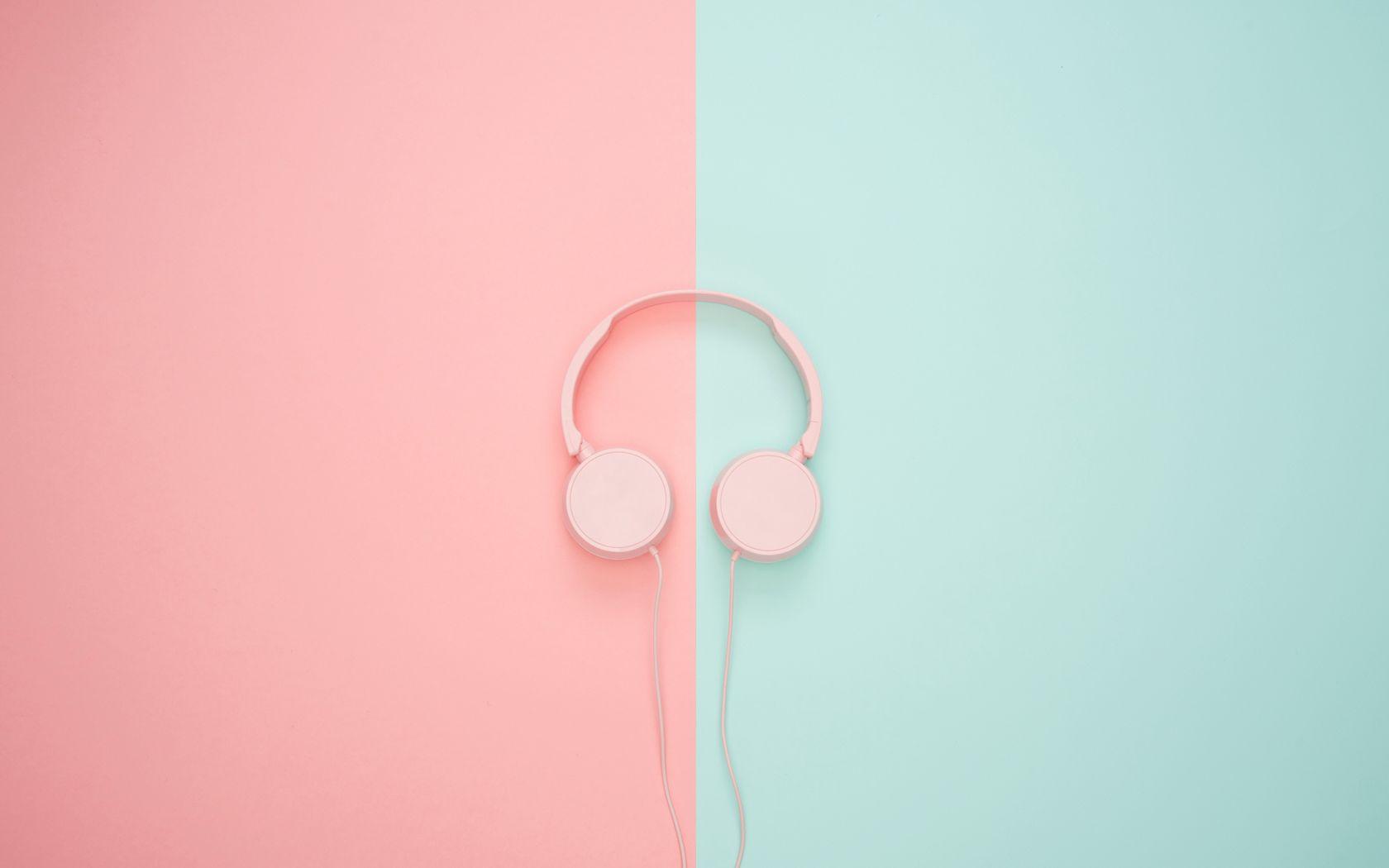 1680x1050 Wallpaper headphones, minimalism, pink, pastel