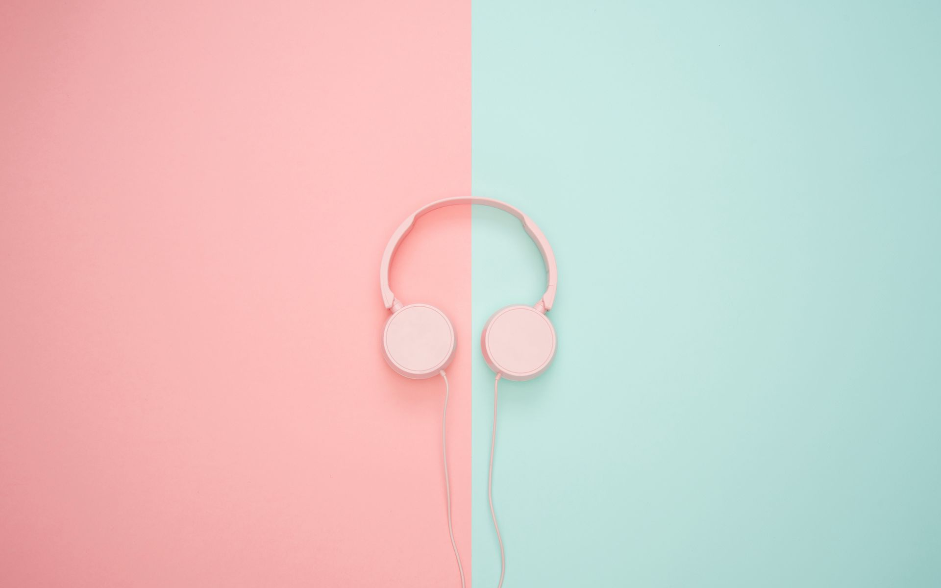 1920x1200 Wallpaper headphones, minimalism, pink, pastel