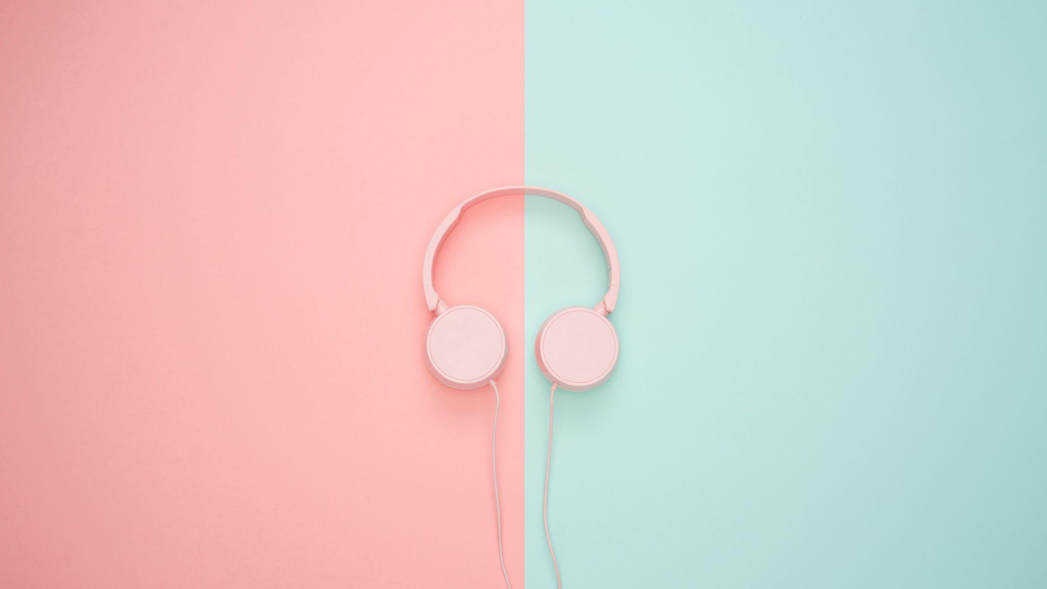 2048x1152 Wallpaper headphones, minimalism, pink, pastel