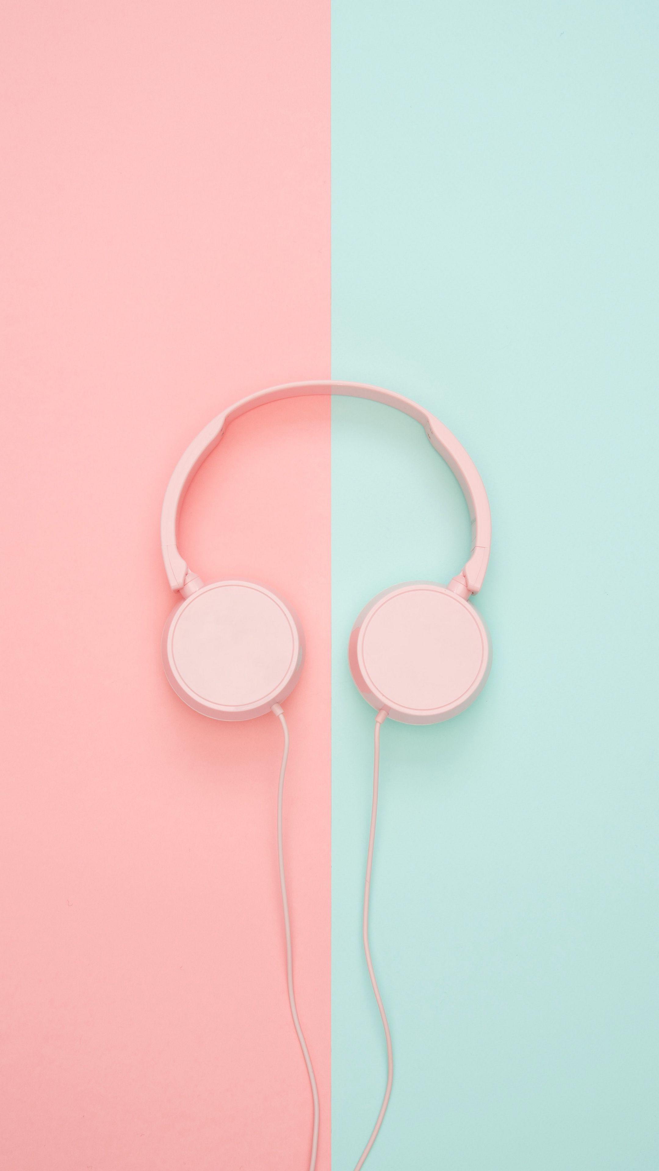 2160x3840 Wallpaper headphones, minimalism, pink, pastel