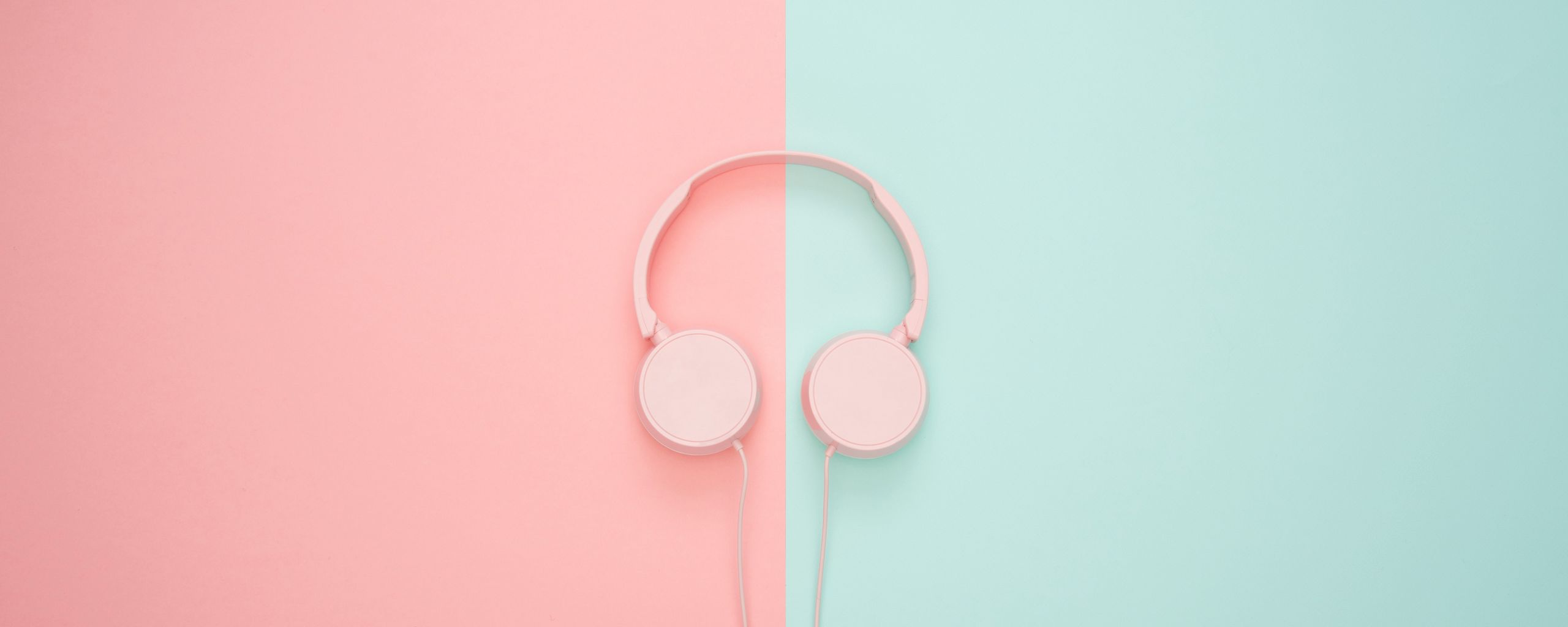 2560x1024 Wallpaper headphones, minimalism, pink, pastel