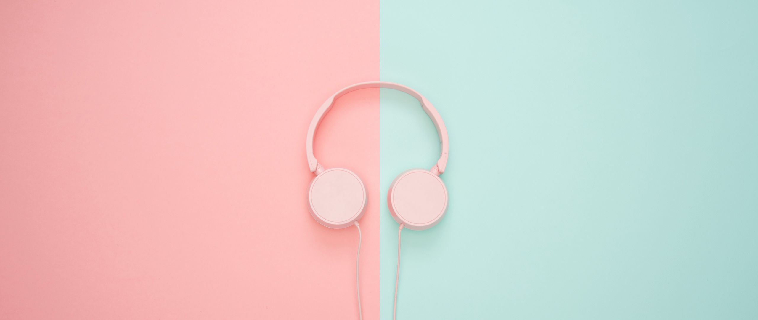 2560x1080 Wallpaper headphones, minimalism, pink, pastel