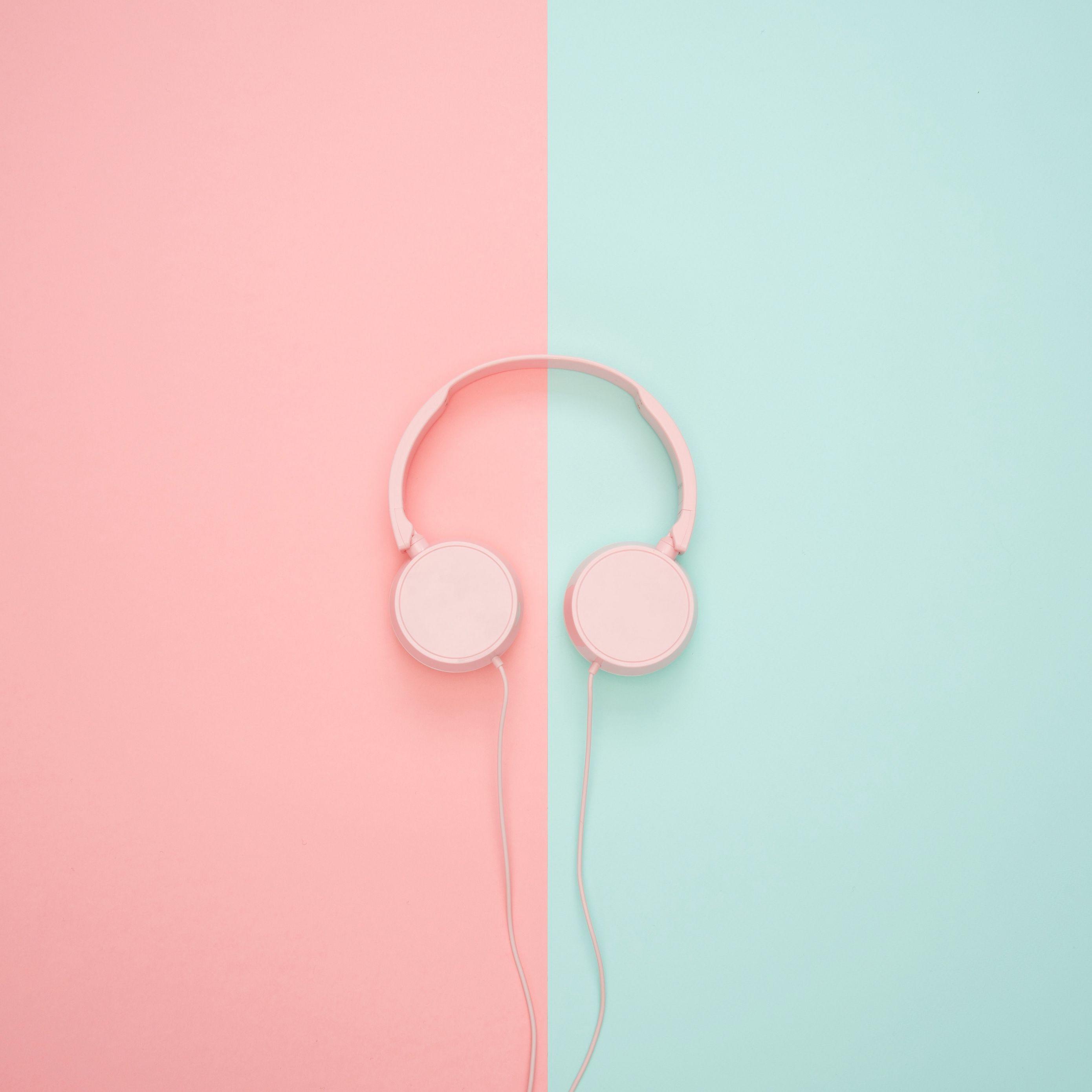 2780x2780 Wallpaper headphones, minimalism, pink, pastel
