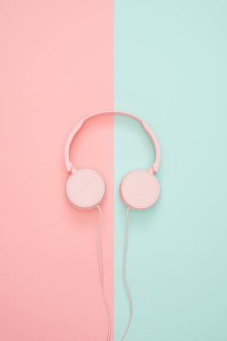 320x480 Wallpaper headphones, minimalism, pink, pastel